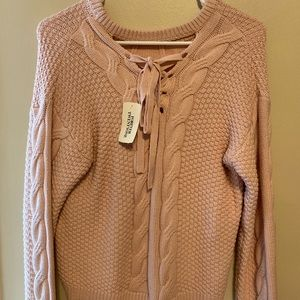 Forever 21 Sweaters - pink cable crew sweater with adjustable bow:)